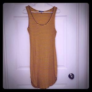 Gold and navy blue striped juniors tanktop dress